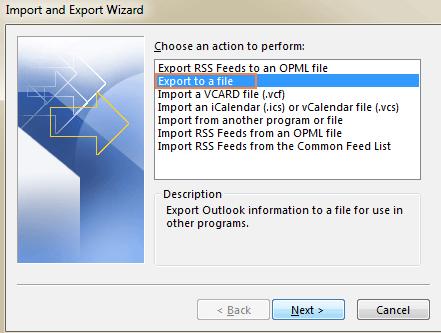 export outlook
