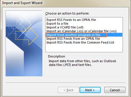 import outlook