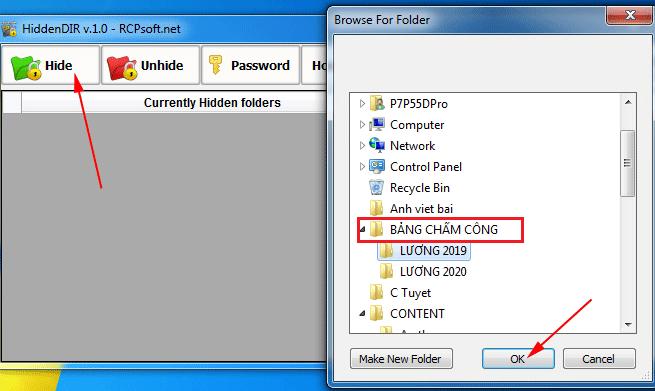 ẩn thư mục bằng HiddenDIR