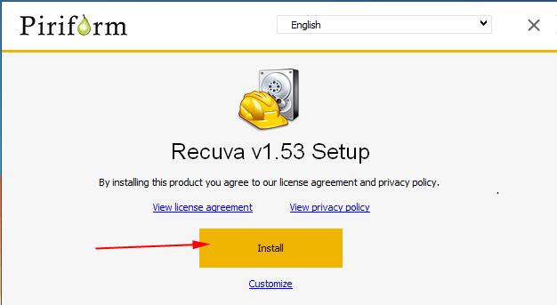 cài đặt phần mềm Recuva