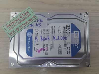 Khôi phục dữ liệu ổ cứng western 320GB lỗi đầu từ