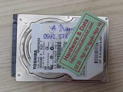 phục hồi dữ liệu ổ cứng toshiba 640GB chết cơ