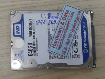 phục hồi dữ liệu ổ cứng Western 640GB hỏng đầu từ