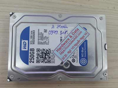 phục hồi dữ liệu ổ cứng Western 250GB chết cơ