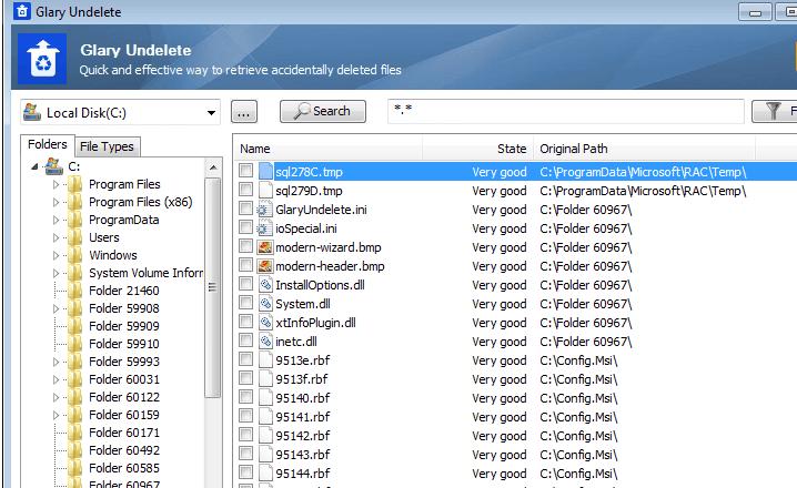 phần mềm Glary Undelete