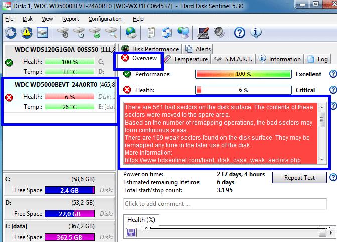 phần mềm Hard disk Sentinel