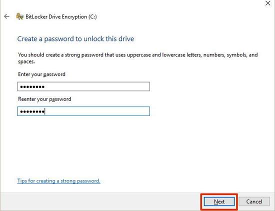 mật khẩu mở bitlocker windows 10